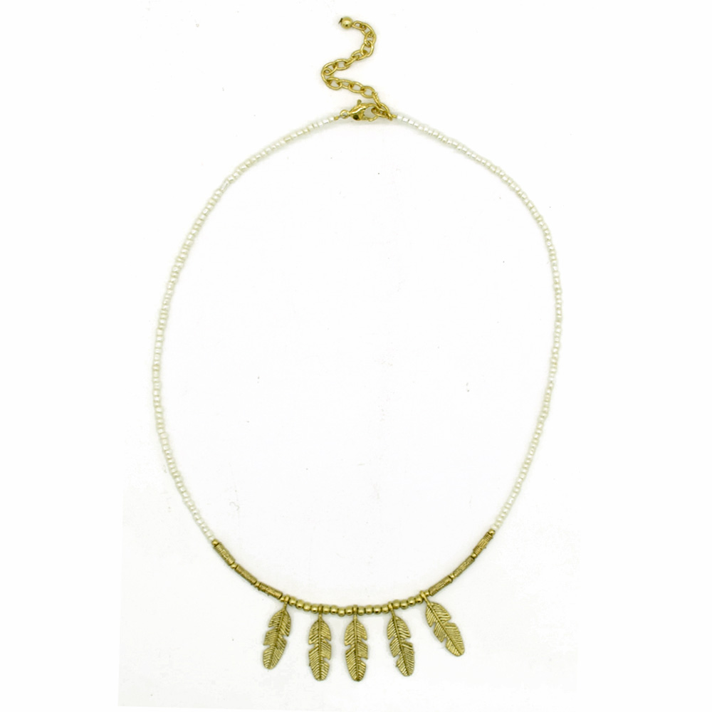 MNA-182,Leaves Charm Gold White Necklace