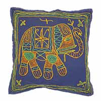 Marching Elephant Hand Embroidered Pillow Cover