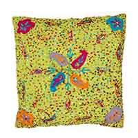Embroidered Paisley Pillow Cover