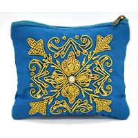 Zardozi Embroidered Floral Coin Purse