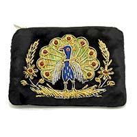 Zardozi Embroidered Dancing Peacock Coin Purse