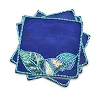 Beaded Hand Embroidered Leafy Coasters, Set of 4
