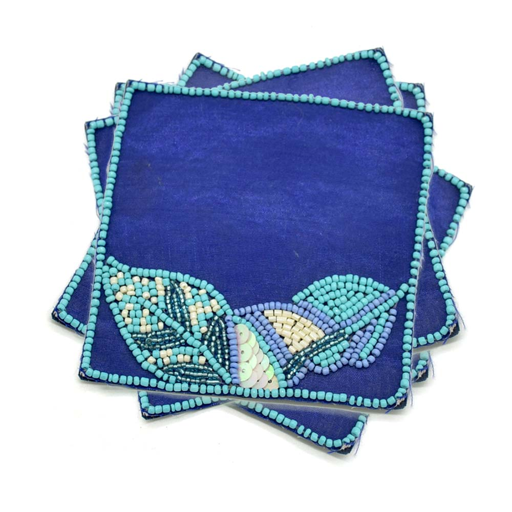 MCoA-1744,Beaded Hand Embroidered Leafy Coasters,Set of 4