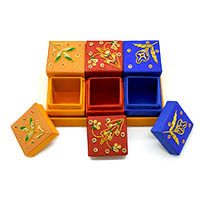 Zardozi Embroidered Floral Ring Box-Set of 6