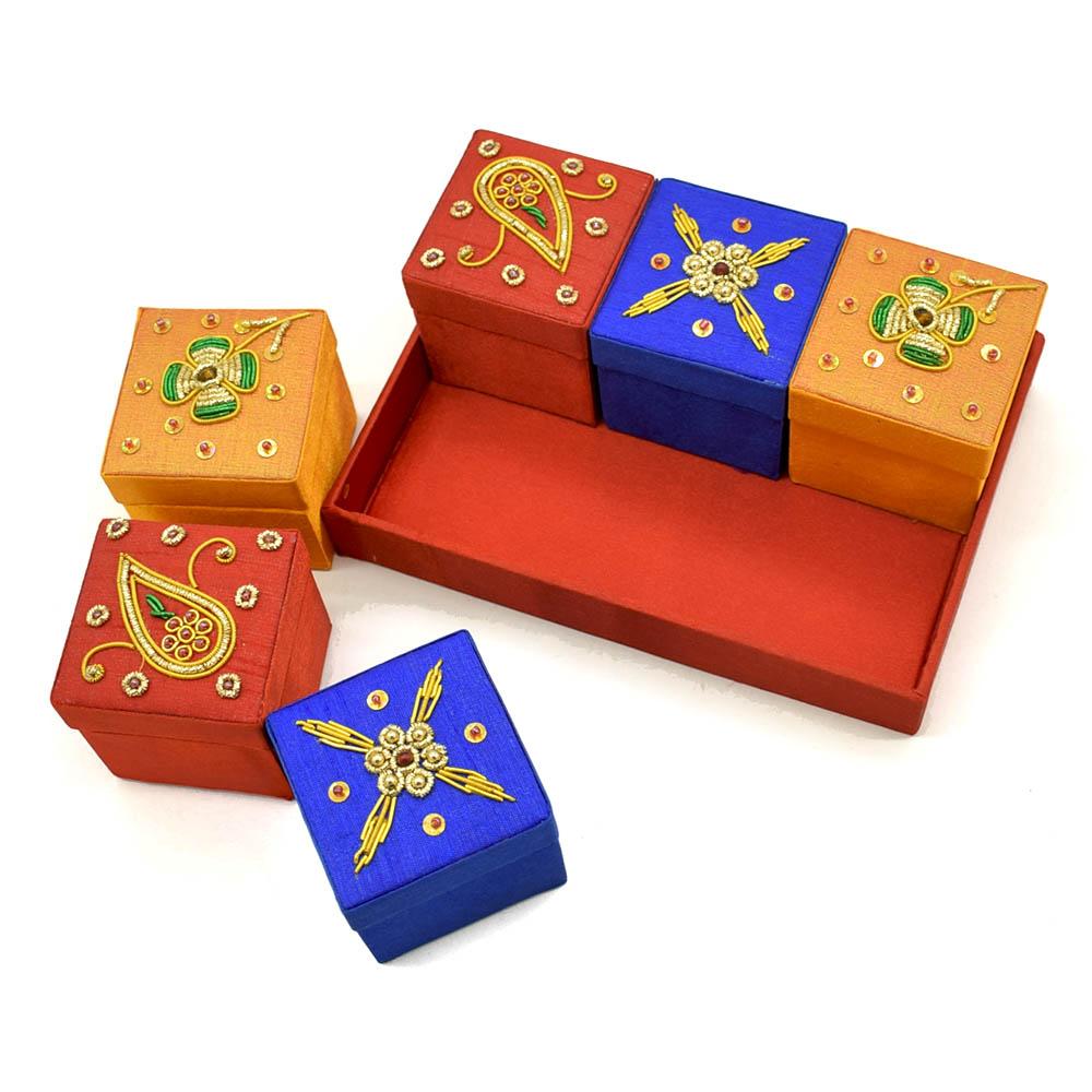 Zardozi Embroidered Ring Box-Set of 6