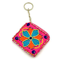 Beaded Sunflower Key Ring