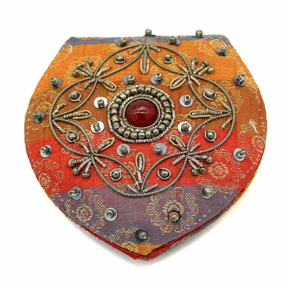 Recycled Banarasi Sari Hand Embroidered Floral Mirror