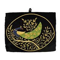 Zardozi Hand Embroidered Peacock Wall Hanging-Black