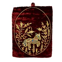Zardozi Hand Embroidered Horse Wall Hanging-Maroon