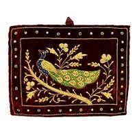 Zardozi Hand Embroidered Peacock Wall Hanging-Maroon