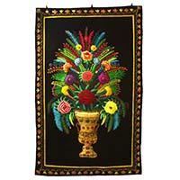 Zardozi Hand Embroidered Flower Vase Wall Hanging