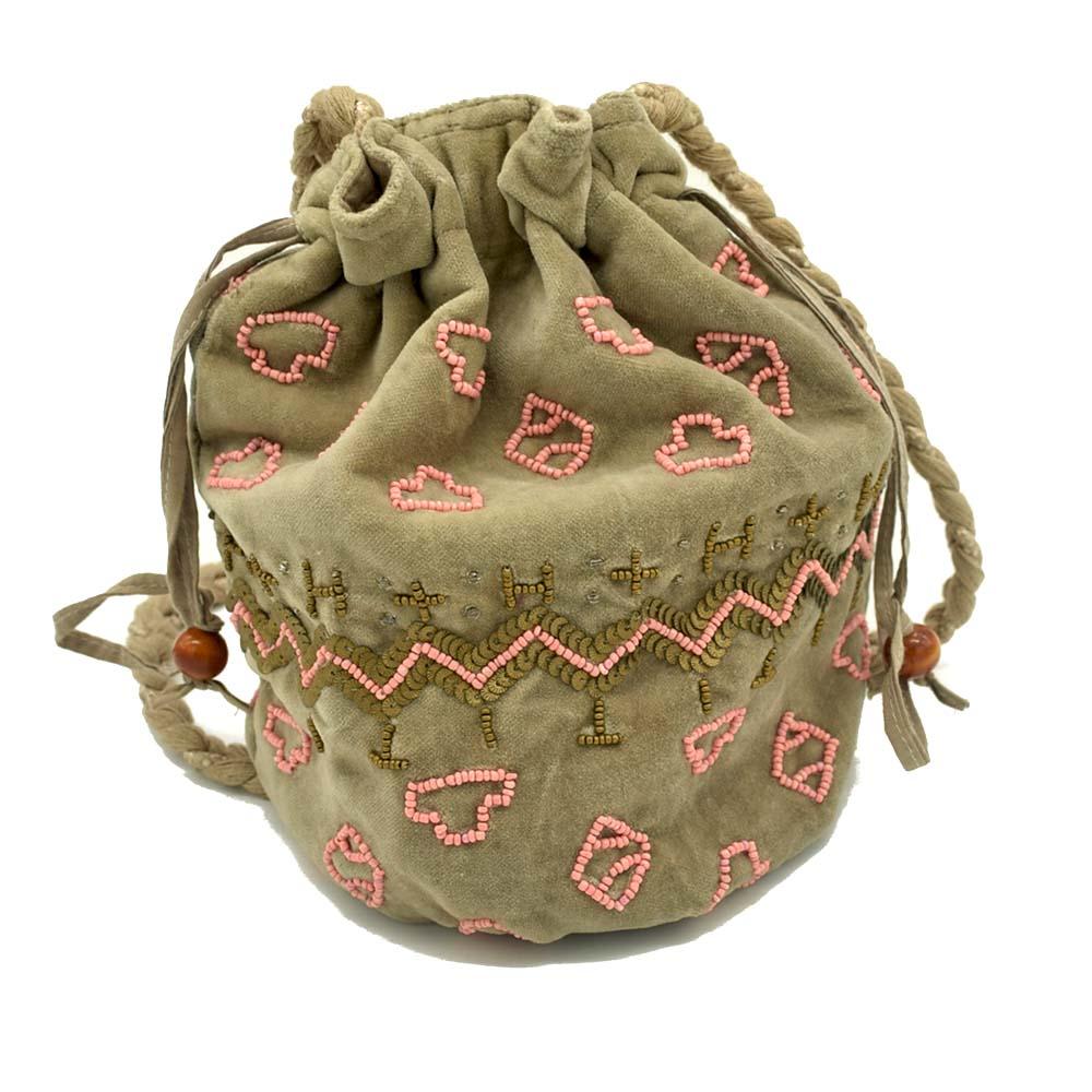 Beaded Potli Bag-Brown