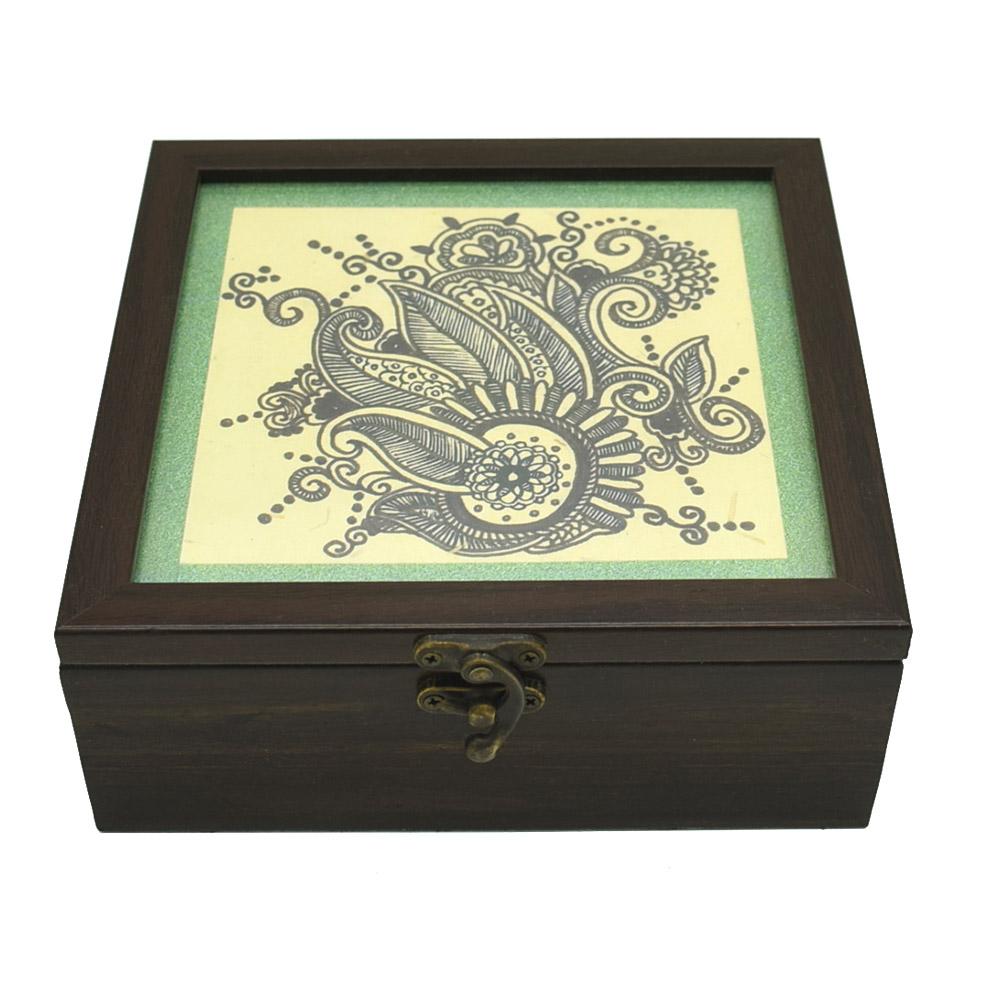 Floral Doodle Art Decorative Handmade Box