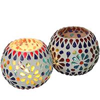 Rainbow Splash – Glass Mosaic Tea-Light Holders – Multicolor Votive Candle Holders