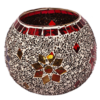 Votive Round Glass Candle Holder Red & White