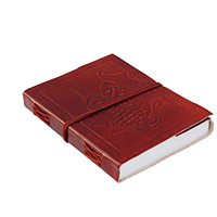 Antiqued Cinnamon Brown – Double Dragon Embossed Leather Journal