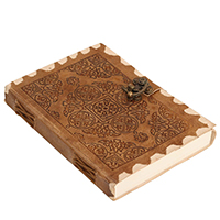 Antiqued Golden-Brown – Florentine Pattern Embossed Leather Journal