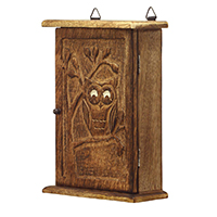 Owl & Tree Carved Wall Mount Key-Holder Box