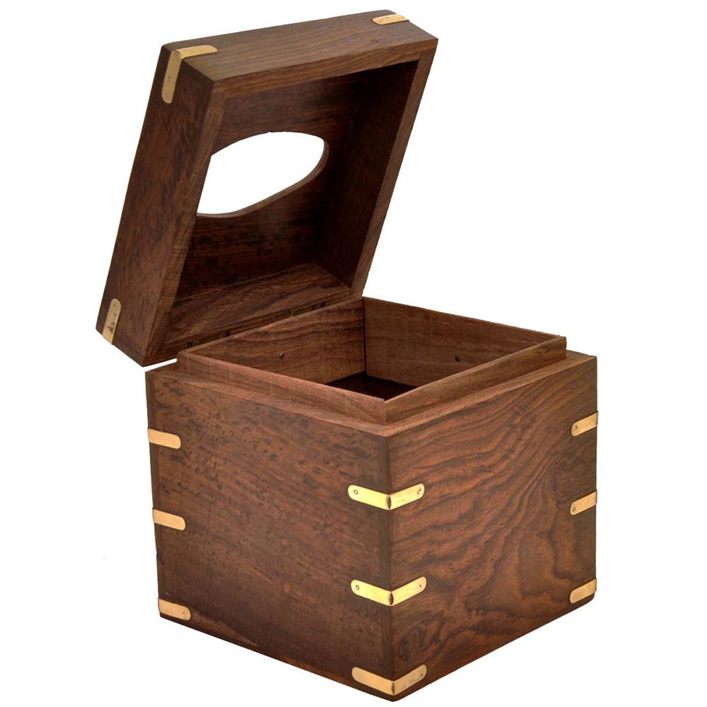 Napkin Holder Box with Brass Inlays