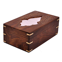 Wooden Rectangular Tissue Box
