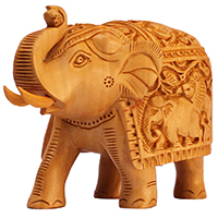 Carved Wooden Elephant Statue