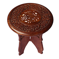 Carved Decorative Wooden Accent Table