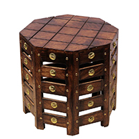 Octagon Shaped Decorative Wooden Table
