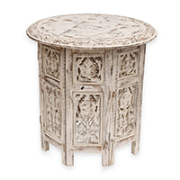 Floral Motif Carving Wooden Table