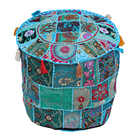 Turquoise Base & Colorful Tassels Puffy Cover