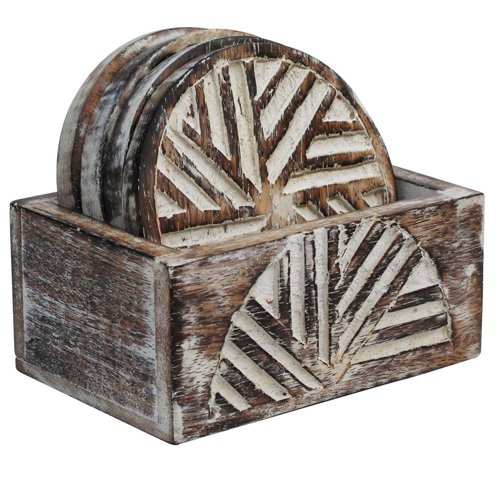 Abstract Carving Wooden Coaster with Holder (Set of 4)