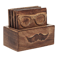 Spectacle & Moustache Wooden Coaster Set Of 4