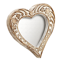 Shabby Chic Heart Shaped Hand Carved White and Brown Photo Frame