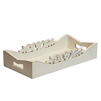 Intricate Floral Carving Wooden Tray