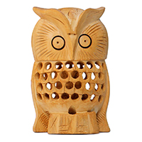 Wood Owl Figurine & Statue
