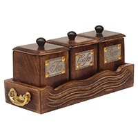 Wooden Antique Tea Coffee Sugar 3 Canister Wooden Tray