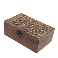 Wooden Hand Carved Tree of Life Jewelry Keepsake Wooden Gift Box