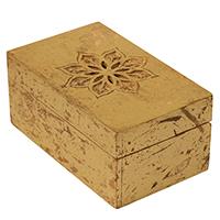 Rectangular Carved Golden-Tone Floral Motif Box